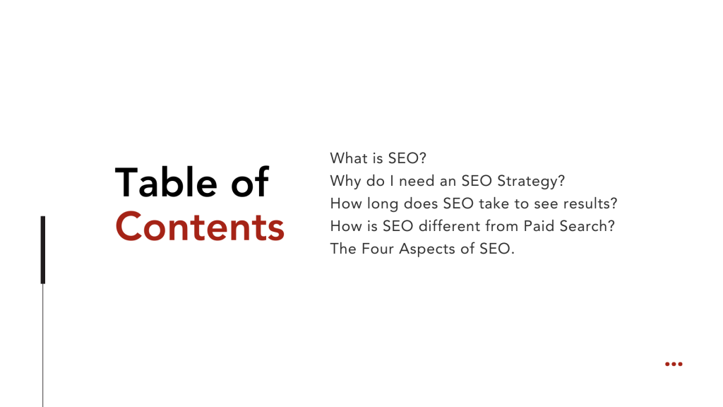 What is SEO Table of Contents