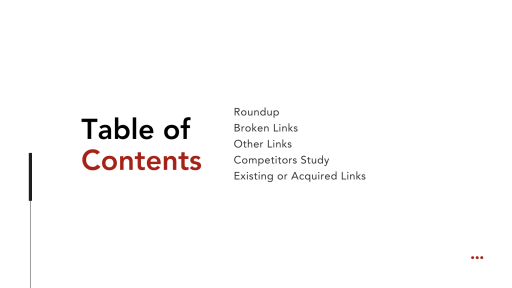 Building Links Table of Contents