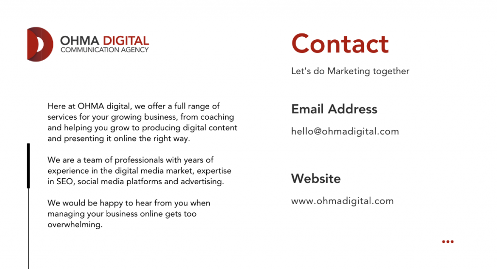 Ohma Digital Contact - Blog Post Dropshipping