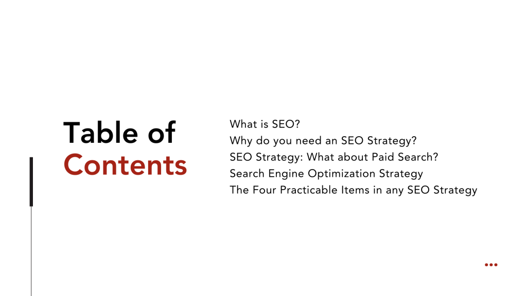 SEO Strategy - Table of content