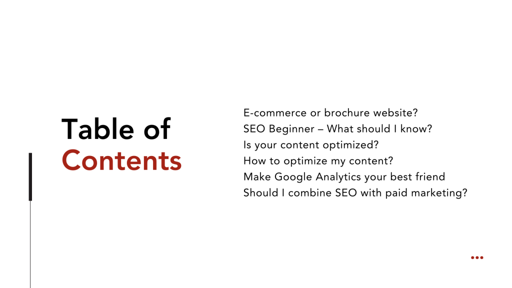 Seo Beginner - Table of content